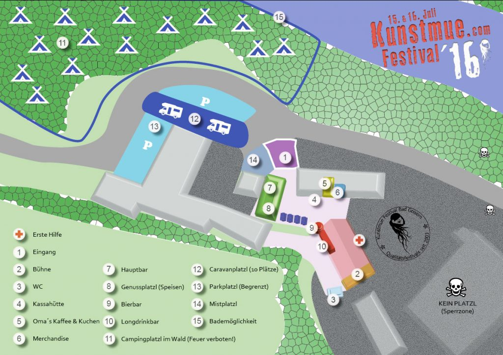 Venueplan Kunstmue Festival 2016
